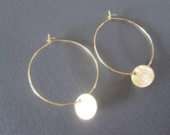 Gold Disc Hoop Earrings