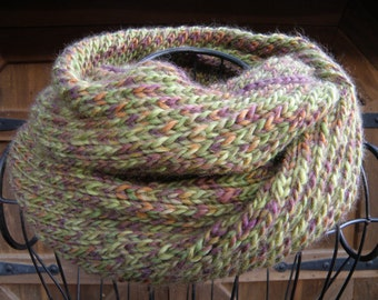 Super Soft Circle Scarf, Hand Knitted Infinity Scarf, Muted Colors, Warm Winter Scarf
