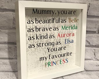 Mother's Day frame, princess frame, gift for her, birthday present for Mum