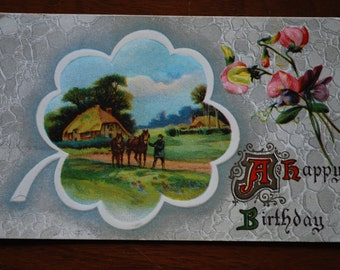 Vintage Birthday Postcard - Embossed - A Happy Birthday - Scenic - Horse and Cottage - Midcentury Ephemera