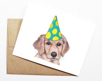 Birthday Card - Golden Retriever, Dog Birthday Card, Cute Birthday Card, Dog Card, Bday Card, Kids Birthday Card, Friend Birthday Card