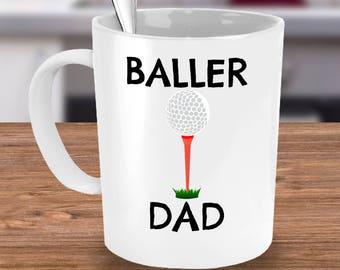 Golf Dad Mug or Golf Mom Mug - Golf Dad Gift - Golf Mom Gift -Unique Coffee, Tea Cup - Golf Team Parent, Coach