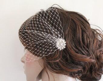 Birdcage veil bridal,Wedding birdcage veil,Ivory bird cage veil,Wedding veil. Bridal veil,Wedding fascinatores,Bridal Fascinators,Rhinestone