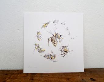 Honey bee illustration, worker bee, honey bee art print, kitchen decor, bee wall art, watercolor bee art, spiral art print, bee illustration
