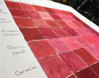 Daniel Smith Watercolors - Reds & Purples - Hand filled Half Pans of Paint