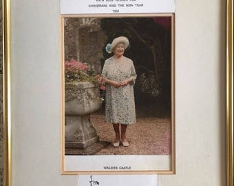 Queen Elizabeth Queen Mother Signed Christmas Card Framed 1991