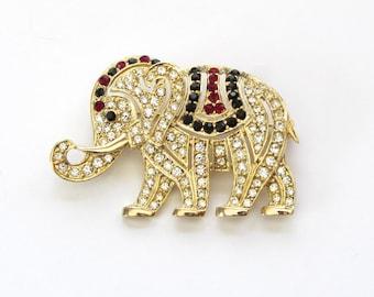 Elephant Brooch | Hattie Carnegie | Rhinestone Brooch | Elephant Gifts | Hattie Carnegie Jewelry | Elephant Pin | Elephant Lovers