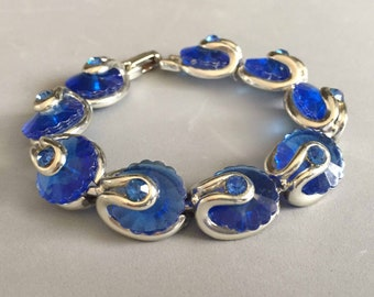 Blue Flower Bracelet on Silver Tone with Bright Blue Rhinestones, Formal Vintage Jewelry, Rhinestone Vintage Jewelry