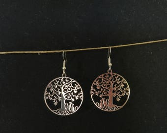 Oreille_Arbre of life & cats Silver Earring
