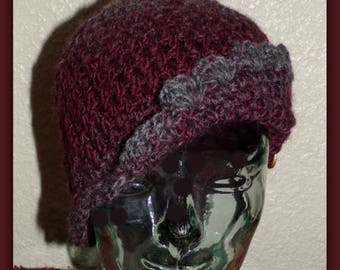 Lacy Valentine Beanie Crochet Hat, Hombre Burgundy and Gray Cloche, Crochet Winter Hat.