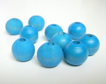 Turquoise Hand Dyed Wood Beads, Jewelry Supplies, General Crafts