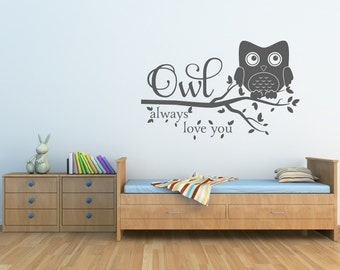 Owl Decor Owl Always Love You Wall Decal Owl Nursery Decal Owl Wall Decal Nursery Decor Vinyl Wall Decal  sc 1 st  Etsy & Nursery Wall Decals Owl Wall Decal Kids Room Decal Moon