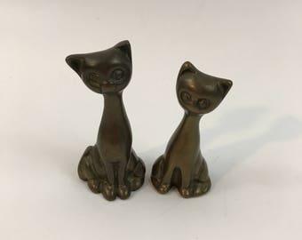 Vintage Brass Cats Pair Brass Kittens Pair Cats Kittens Figurines