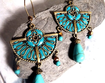 turquoise blue antique bronze earrings