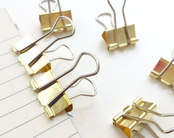 Set of 5 gold binder clips
