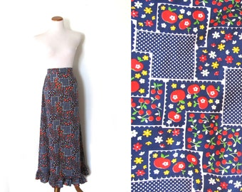 vintage skirt maxi 1970s womens clothing apple print floral blue red patchwork retro size l large