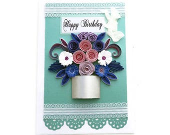 Paper Quilled card, Birthday Card-Quilled  Spiral Roses Card -Free Shipping-Paper Quilled Purple Paper flowers- Birthday-Mom-Silver Pot