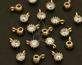 PD-399-GD / 4 Pcs - Very Tiny Birthstone Charms, April Birthstones, Diamond CZ Pendant, Gold Plated over Brass Setting / 3.2mm x 5mm