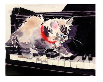 Nursery decor, Kitten Print, Piano Cat, Sale, Kitty prints, Siamese Cat, Black art prints, Watercolor, Paintings, Himalayan cat, Grey, Gray
