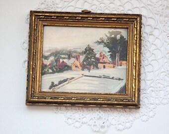 Vintage Mini Framed Print, Gold Frame