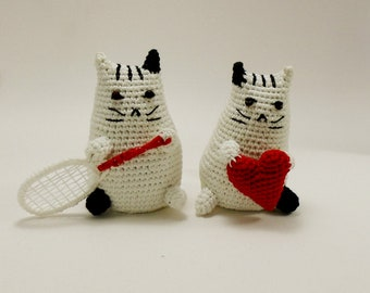 White crochet cat, White cat doll,  Tennis cat, Cat with heart, Pusheen crochet cat, Handmade cat doll, Cat plush toy, Cat lovers, Gift idea