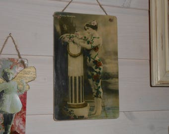 hanging wooden sign Edwardian lady in floral leotard podium old photograph Theatre actress performer shabby chic french decor gift for her