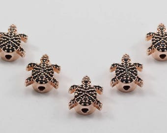 5 Pcs Micro Turtle Beads, Rose Gold Plated, Micro Pave Tortoise Beads, Bracelet Connectors, CZ Space Bead, Cz Pave Women Bracelet, MMT63