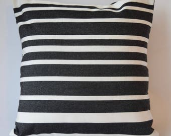 """Marimekko Decorative Pillow Cover, Double-sided, Cotton Upholstery weight. Keinu Pattern/ Solid Black, 16""""x16"""" (40x40cm)"""