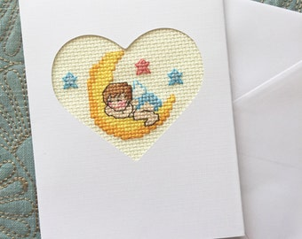 Congratulations New Baby Cross Stitch Card, Baby Shower Card, Handmade Card
