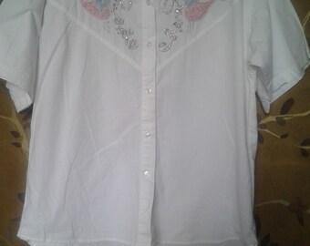 80s embellished short sleeved jewelled shirt
