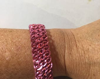 Half Persian Sheet Chainmaille Bracelet in Pink