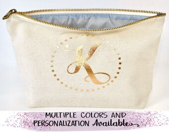 Rose gold  Makeup bag personalized , bridesmaid gift , bridesmaid favors ,  cosmetic bag,  zipper pouches, Birthday gift, svg