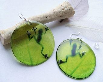 Resin Earrings Transparent Earrings Green Earrings Frog Earrings Shadow on leaf Earrings Epoxy Jewelry Gift for Her Dangling Earrings