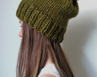 The ANCHORAGE - Knit ski slouchy hat - with / without Pom Pom -  More colors available