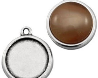 DQ Metal pendant, version F. cabochons Ø 20 mm-1 piece-Silver plated/gold plated (colour: silver)