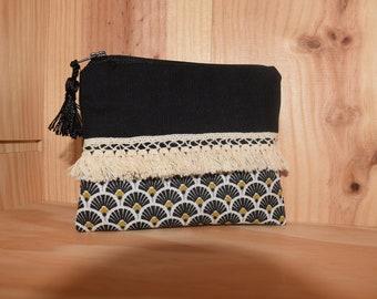 Black and beige fringe purse