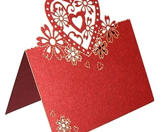 Mini card, place cards, square embellishments, red, heart and flower filigree