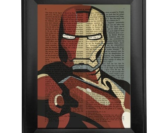 Ironman, printed on Vintage Paper - 8x10.5 - dictionary art print, vintage book print