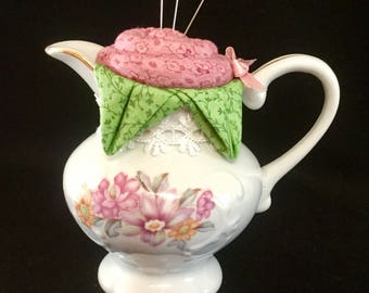 Repurposed China Creamer Rose Pincushion