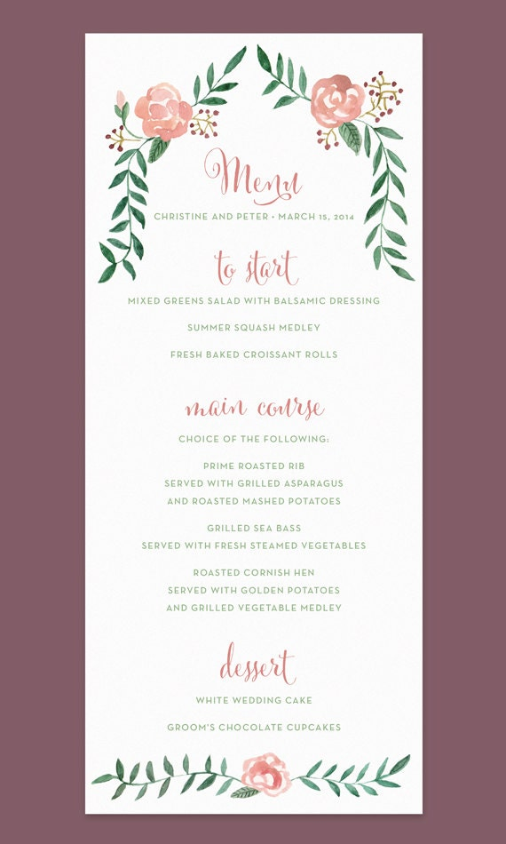 Rose Wedding Menu Card With Hand-painted Watercolor Flower