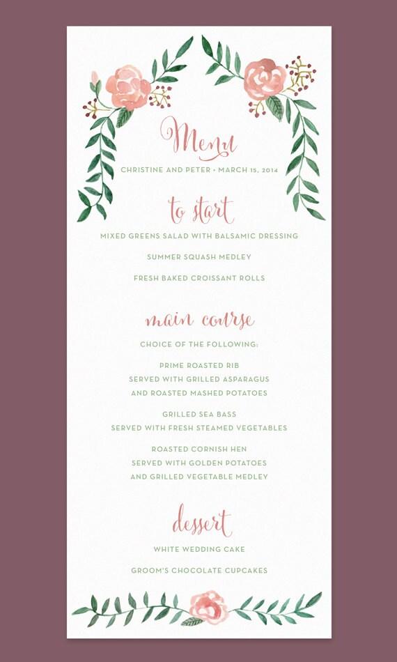 rose wedding menu card with handpainted watercolor flower