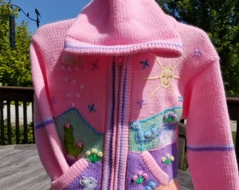 Alpaca Blend Childrens' Sweater with Embroidered Applique Decorations Warm Soft