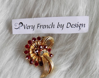 Art Deco Ruby Look Old Hollywood Brooch