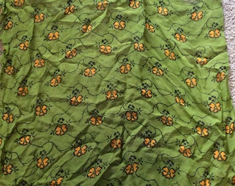 Olive And Orange Floral Scarf