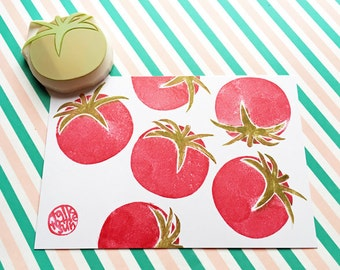 tomato rubber stamp | summer vegetable garden stamp | diy | nature lover gift | card making | fabric stamping | hand carved by talktothesun