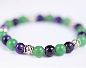 Amethyst and Aventurine Natural Stone Stretch Bracelet ~ LUCK