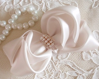Handmade Satin Ribbon Bow With Rhinestone and Pearl ( 4-1/2 x 2-1/4 inch) In Lt Cream  MY-455-04 Ready To Ship