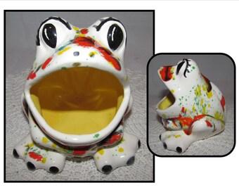 Vintage Handpainted Ceramic Big Mouthed Frog Kitchen Sponge Holder, 70s, trinket holder, white, orange, drip glaze