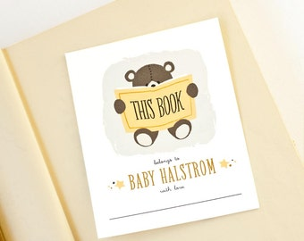 Teddy Bear Personalized Bookplates, Labels for Bring-a-book Baby Shower  // TEDDY READS