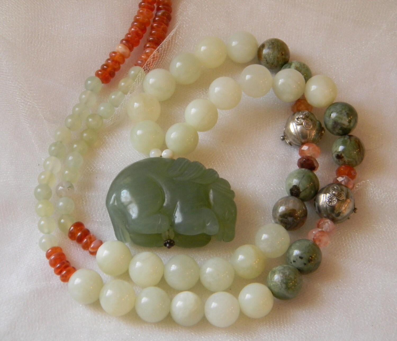 Celadon jade horse pendant w jade opal beads necklace zoom aloadofball Choice Image